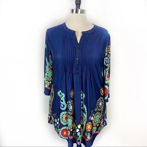 Ice Silk Bold Pattern Tunic Plus Size 2X Blue
